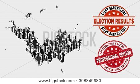 Democracy Saint Barthelemy Map And Watermarks. Red Rounded Professional Edition Grunge Seal Stamp. B