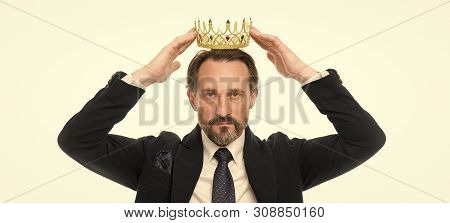 Monarchy Family Traditions. Man Nature Bearded Guy In Suit Hold Golden Crown Symbol Of Monarchy. Dir