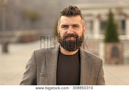 Bearded Man. Fashion Man With Beard. Male Barber Care. Mature Hipster With Beard. Brutal Caucasian H