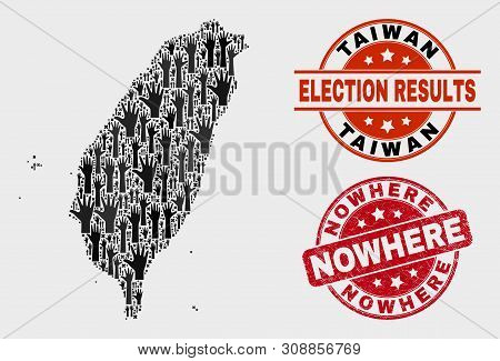 Democracy Taiwan Map And Seal Stamps. Red Rounded Nowhere Grunge Seal. Black Taiwan Map Mosaic Of Ra