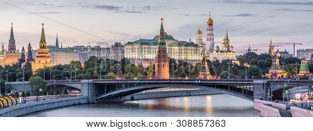 Moscow Kremlin At Dusk, Russia. Panoramic View Of The Famous Moscow Center In Summer Evening. Ancien