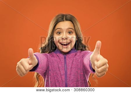 Kids Actually Like Concept. Kid Show Thumb Up. Girl Happy Totally In Love Fond Of Or Highly Recommen