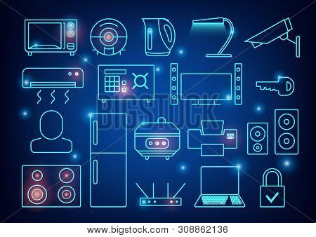 Smart Home Automation Vector Background. Connected Smart Home Devices Like Phone, Smart Watch, Table