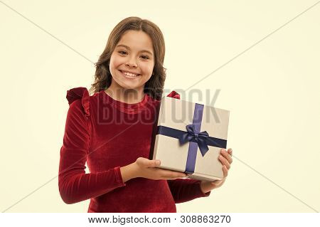Feel So Thankful. Birthday Girl Carry Present With Ribbon Bow. Art Of Making Gifts. Birthday Wish Li