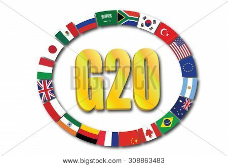 Summit G20 Concept With Globe  Rendering Isolated On White Background
