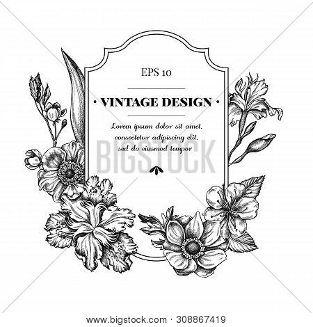 Badge Design With Black And White Anemone, Iris Japonica, Sakura Stock Illustration