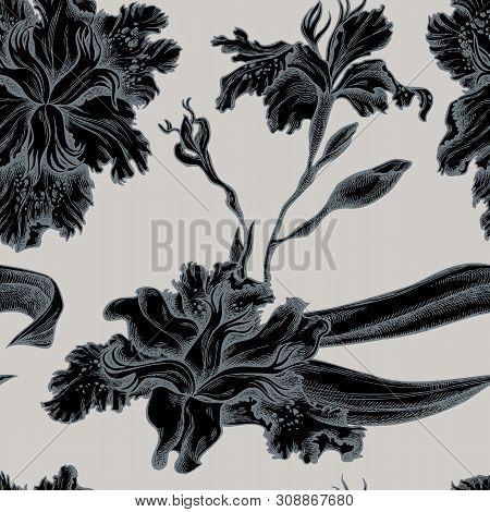 Seamless Pattern With Hand Drawn Stylized Iris Japonica Stock Illustration