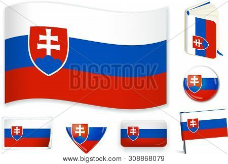 Slovakian National Flag Vector Illustration In Different Shapes.