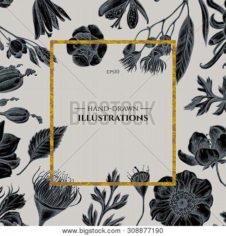 Badge Over Design With Japanese Chrysanthemum, Blackberry Lily, Eucalyptus Flower, Anemone, Iris Jap