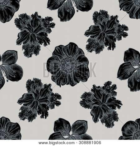 Seamless Pattern With Hand Drawn Stylized Anemone, Iris Japonica, Sakura Stock Illustration