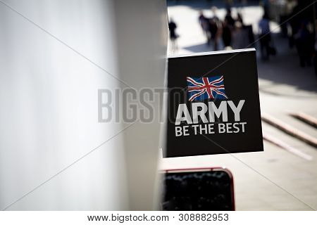 Coventry, Warwickshire, United Kingsom, June 27th 2019,  A Sign For An Armed Forces Recruitment Offi