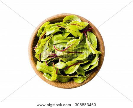 Sweet Beet Leafs(mangold) Isolated On White Background. Top View. Leaves Of Baby Chard With Copy Spa