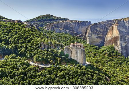 Panoramic View Of  Meteora Valley With  Monastery Of Rousanou, Greece