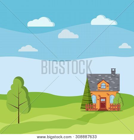 Spring Or Summer Landscape With Cartoon Brick Village Farm House With Attic, Chimney, Fences, Green