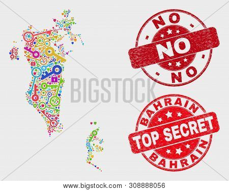 Passkey Bahrain Map And Stamps. Red Round Top Secret And No Grunge Stamps. Bright Bahrain Map Mosaic