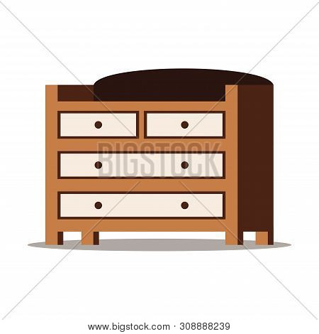 Cartoon Style Flat Design Vector Illustration Of Wooden Chest Of Drawers With Box For Storage Of Clo