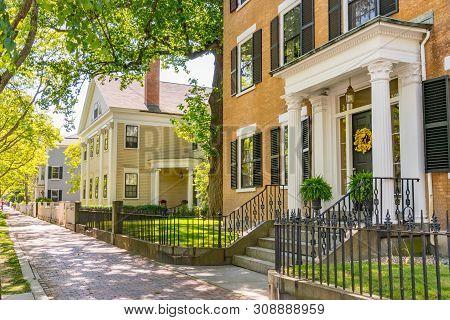 Historic New England Houses Along Street In Salem, Massachusetts