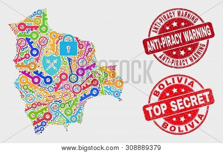 Privacy Bolivia Map And Seal Stamps. Red Rounded Top Secret And Anti-piracy Warning Grunge Seal Stam