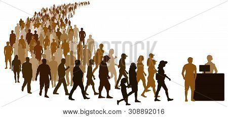 Crowd Of People Go To Register. Reception Girl With Computer At The Counter. Isolated Vector Silhoue