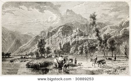 Sion old view, canton of Valais, Switzerland. Created by Girardet, published on L'Illustration, Journal Universel, Paris, 1863