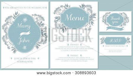 Wedding Invitation Card With Light Blue Valerian Stock Illustration