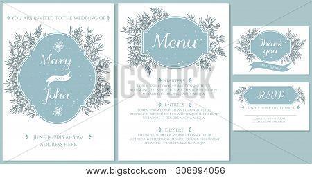 Wedding Invitation Card With Light Blue Juniper Stock Illustration