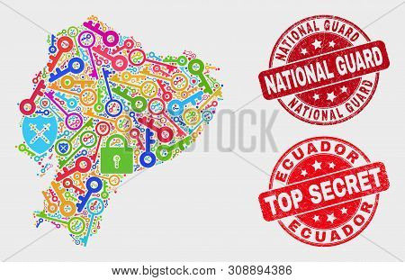 Key Ecuador Map And Watermarks. Red Rounded Top Secret And National Guard Grunge Watermarks. Colored