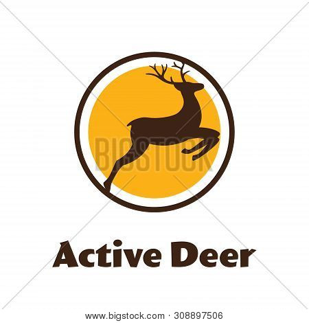 Active Deer - Black Vector Silhouette Of Reindeer With Antlers - Logo.