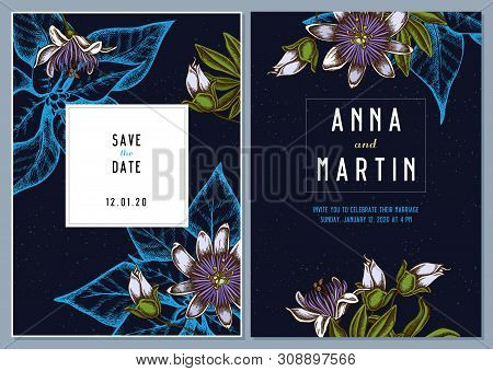 Dark Wedding Invitation Card With Colored Passion Flower Stock Illustration