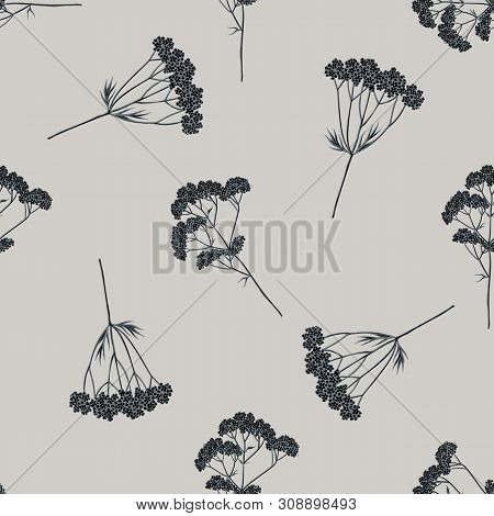 Seamless Pattern With Hand Drawn Stylized Valerian Stock Illustration