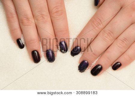 Manicure Gel Lacquer Dark Purple With Black Glitter On Sugar