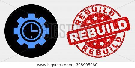 Rounded Clock Setup Wheel Icon And Rebuild Seal Stamp. Red Round Scratched Seal With Rebuild Text. B