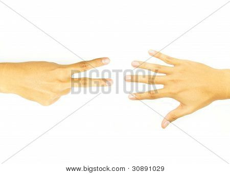 two finger hand and open hand of the opposite side