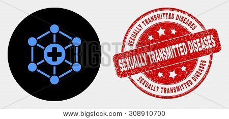 Rounded Medical Center Links Icon And Sexually Transmitted Diseases Seal. Red Rounded Scratched Seal