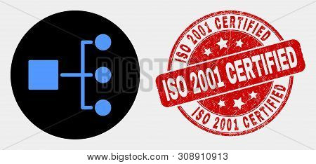 Rounded Hierarchy Icon And Iso 2001 Certified Watermark. Red Round Distress Watermark With Iso 2001