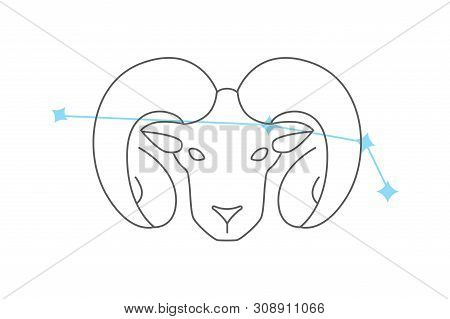 Zodiac Aries Icon. Vector Line Icons On White Background. Easy Editable Colors. Simple Element Illus