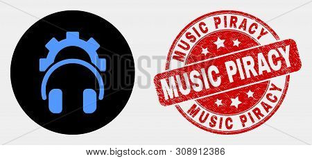 Rounded Gear Headphones Icon And Music Piracy Watermark. Red Rounded Textured Stamp With Music Pirac