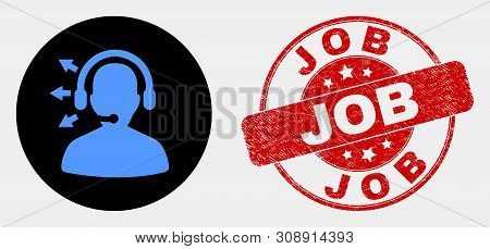 Rounded Radio Operator Pictogram And Job Seal Stamp. Red Rounded Distress Seal Stamp With Job Captio