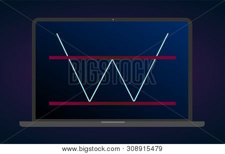 Double Bottom Pattern Figure Technical Analysis. Vector Stock And Cryptocurrency Exchange Graph, For