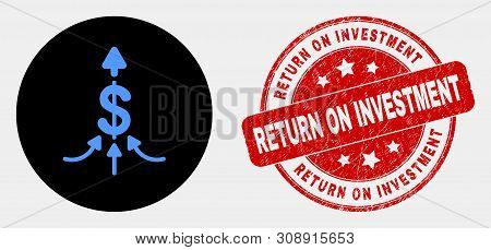 Rounded Payment Aggregator Icon And Return On Investment Seal. Red Rounded Distress Seal Stamp With