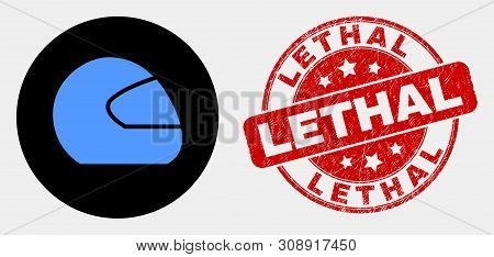 Rounded Motorcycle Helmet Icon And Lethal Stamp. Red Rounded Textured Seal Stamp With Lethal Text. B