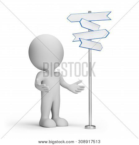 3d Man In Confusion Before Choosing A Path. 3d Image. White Background.