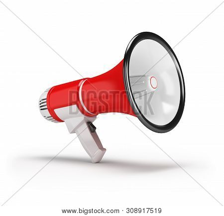 3d Red Megaphone. 3d Image. White Background.