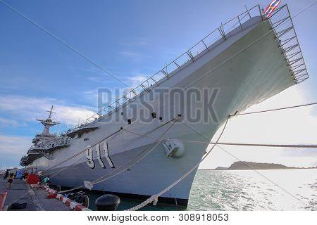 Chonburi ,thailand-september 21,2013:htms Chakri Naruebet Is Biggest In Thai Military Battleship At