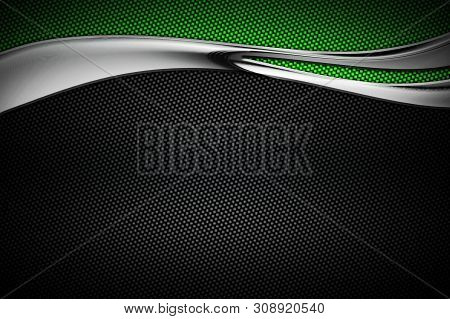 Green And Black Carbon Fiber And Curve Chromium Frame. Metal Background And Texture. Material Design