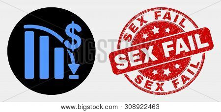 Rounded Crisis Bar Chart Icon And Sex Fail Seal Stamp. Red Rounded Textured Stamp With Sex Fail Text