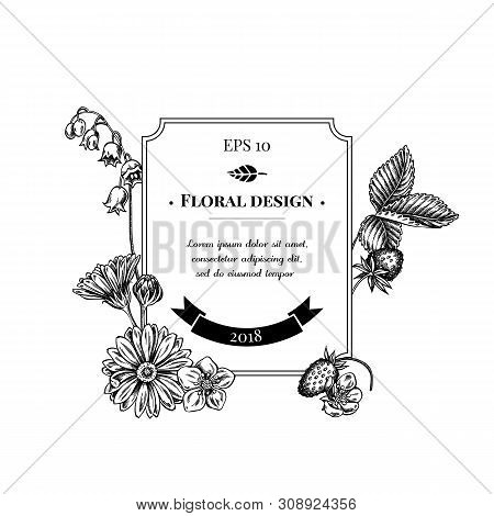 badge design with black and white calendula, lily of the valley, strawberry  stock illustration
