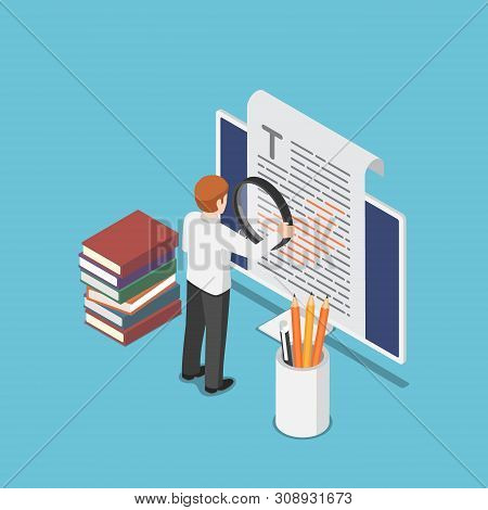 Flat 3d Isometric Businessman Proofreading A Document On Pc Monitor. Proofread And Content Writing C