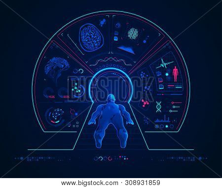 Concept Of Medical Technology, Mri Scan With Digital Brain Analysis Interface