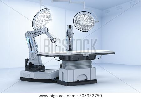 Medical technology concept with 3d rendering robot surgery machine with surgery lights on white background poster